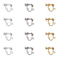 NBEADS 100 PCS Random Mixed Color Screw Back Clip Earring Converter with Open Loop for Non-Pierced Earring Making