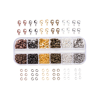 PandaHall Elite 6 Colors Lobster Claw Clasps and 6 Colors Open Jump Rings Brass for Jewelry Making