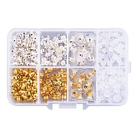 PandaHall Elite 5 Style Brass and Plastic Earnut Earring Studs Sets Mixed Colors in One Box for Jewelry Making, about 320pcs/box