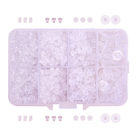 PandaHall Elite Pack of 1 Box 4 Styles of Clear Rubber Earring Backs Earring Stoppers for Jewelry Making Findings