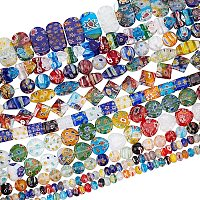 """Pandahall Elite 10 Strands Assorted Lampwork Beads Millefiori Beads Glass Loose Bead for Jewelry Making - 15""""~16"""""""