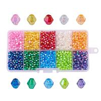 ARRICRAFT 1 Box (about 2500pcs) 10 Color Crystal Bicone Beads Faceted Acrylic Beads Assortment Lot for Jewelry Making