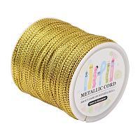 ARRICRAFT 109 Yards 1mm Non Stretch Jewelry Braided Thread Gift Wrap Ribbon Metallic Tinsel Cord Rope Goldenrod