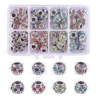 NBEADS 72 PCS Mixed Color Crystal Alloy Rhinestone European Beads, Large Hole Rondelle Charms Beads fit Snake Chain Bracelet Jewelry Making