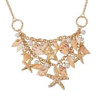 "PandaHall Elite Trendy Natural Shell Bib Beach Necklaces Starfish and Conch Pendants with Iron Chains and Brass Lobster Claw Clasps, Golden, 19.6"", Golden"