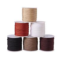 PandaHall Elite 6 Colors 0.8mm Nylon Beading String Knotting Cord, Chinese Knotting Cord Nylon Shamballa Macramé Thread Beading Cord, 6 x 100yards Spool
