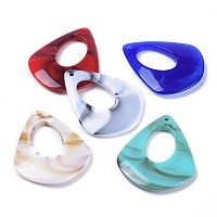 Acrylic Pendants, Imitation Gemstone Style, teardrop, Mixed Color, 41x33.5x5mm, Hole: 1.5mm; about 183pcs/500g