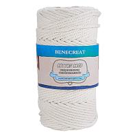BENECREAT 4mm x 110 Yards(328 ft.) Macrame Cord 100% Natural Cotton Rope 4-Strand Twisted Cotton Cord for Handmade Plant Hanger Wall Hanging Craft Making