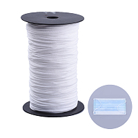 Arricraft Flat Nylon Elastic Band for Mouth Cover Ear Loop, Mouth Cover Elastic Cord, DIY Disposable Mouth Cover Material, with Spool, White, 2.5~3mm; about 225~240m/roll, 2rolls/500g