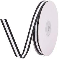 """PandaHall Elite 25 Yards 3/8""""(10mm) Grosgrain Ribbon Double Face Black and White Striped Cotton Ribbon Gift Wrap Ribbon for Party Weddings Birthday Christmas Bridal Showers"""