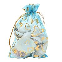 ARRICRAFT 100 PCS 5x7 Inches Heart Printed LightSkyBlue Organza Bags Jewelry Pouch Bags Organza Velvet Drawstring Pouches Wedding Favors Candy Gift Bags