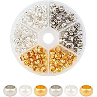 PandaHall Elite 180pcs 3 Colors Rondelle European Beads Large Hole Spacer Beads Metal Loose Beads for Necklace Bracelet Jewelry Making; Hole: 4.5mm