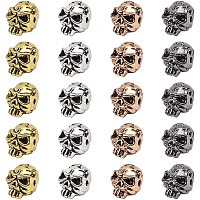Pandahall Elite About 100 Pieces Tibetan Style Skull Beads Alloy Spacer Bead 11x9mm for Jewelry Making Mixed Colors