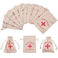 PandaHall Elite 30 Packs 5x3 inch Hangover Kit Bags Burlap Recovery Kit Bags Muslin Drawstring Bag Red Cross Bachelorette Survival Kit Bags for Bridal Party Favor Decoration
