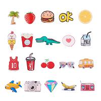 PandaHall Elite 20 Pcs Acrylic Safety Brooch Pin Badges Label Tag with Back Bar Letter Fruit Food Milk Diamond Bus for Clothes Bags Backpacks