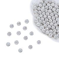 ARRICRAFT 100 Pcs 8mm Disco Ball Clay Beads Pave Rhinestones Spacer Round Beads fit Shamballa Bracelet and Necklace Crystal