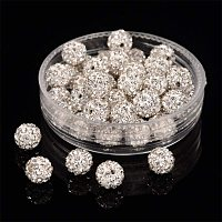 Pandahall Elite About 50 Pcs 6mm Half Drilled Clay Pave Disco Ball Czech Crystal Rhinestone Shamballa Beads Charm Round Spacer Bead for Jewelry Making Crystal