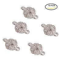 PandaHall Elite 17x10mm 10 Pcs Round Ball Rhinestone Magnetic Clasps Crystal Pave Clasps for Bracelet Necklace Making
