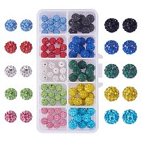NBEADS 100pcs 8mm 10mm 10 Colors Pave Czech Crystal Rhinestone Disco Ball Clay Spacer Beads, Round Polymer Clay Charms Beads for Shamballa Jewelry Making
