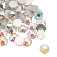 NBEADS About 1440pcs/bag Half Round Crystal AB Back Plated Glass Flat Back Rhinestone, Grade A,2.3~2.4mm