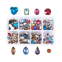 PandaHall Elite 160pcs Sew on Glass Rhinestone Faceted Montee Beads with Brass Base for Clothing DIY Embellishment Mixed Color
