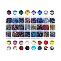 PandaHall About 8400~9600 Pcs Faceted Flat Half Round Hotfix Glass Rhinestones Cabochons Glitter Diamond Gems Decorations for Cell Phone Nail Art