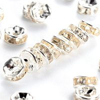NBEADS 500pcs Grade A Brass Rhinestone Spacer Beads, Clear, Silver Metal Color