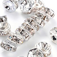 NBEADS 100pcs Grade A Brass Rhinestone Spacer Beads, Silver Metal Color, Nickel Free, Crystal