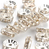 NBEADS 500pcs Grade B Brass Rhinestone Spacer Beads, Clear, Silver Metal Color
