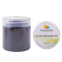 PandaHall Elite 11/0 Glass Seed Beads Black Opaque Colors Diameter 2mm Loose Beads in A Box for DIY Craft, about 100g/box