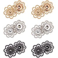 NBEADS 24 Sets Alloy Flower Snap Buttons, 3 Assorted Colors Vintage Metal Sew On Press Snap Button Fasteners 20mm (3/4 inch)