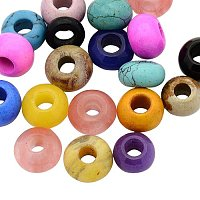 ARRICRAFT 20 Pcs 12mm Mixed Color Rondelle Gemstone European Beads Rondelle Large Hole Beads