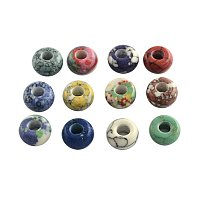 NBEADS 100pcs Synthetic Gemstone European Beads, Large Hole Rondelle Beads, Dyed, Mixed Color
