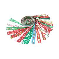 NBEADS 1 Set 24 Strands Mixed Color Christmas Ribbon Printed Grosgrain Ribbon Ideal for Gift Wrapping and Decoration