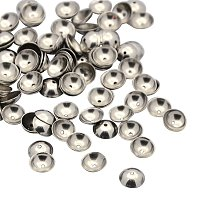 NBEADS 100pcs 6mm Half Round Stainless Steel Bead Caps Jewelry Findings Accessories for Bracelet Necklace Jewelry Making