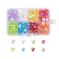 Nbeads 8 Colors Environmental Transparent Acrylic Beads, Heart, Dyed, AB Color, Mixed Color, Mixed Color, 8x8x3mm, Hole: 1.5mm; about 40pcs/color, 320pcs/box