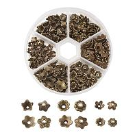 ARRICRAFT 1 Box Assorted 6 Different Shape Tibetan Style Alloy Flower Bead Caps for Jewelry Making, Antique Bronze