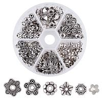 ARRICRAFT 1 Box Assorted 6 Different Shape Tibetan Style Alloy Flower Bead Caps for Jewelry Making Antique Silver
