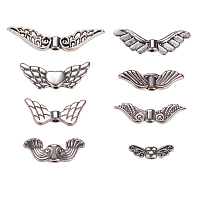PandaHall Elite Vintage Tibetan beads Antique Silver Plated Angel Wing Charm Beads Spacer Jewelry Findings, about 160pcs/box