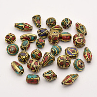 PandaHall Elite 50PCS Mixed Antique Golden Handmade Tibetan Style Beads, Brass with Coral and Turquoise