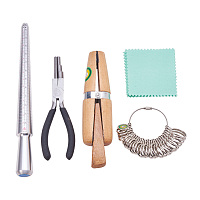 Pandahall Elite Ring Making Tool Kit - Includes Ring Mandrel, Finger Size Gauge, Ring Coiling Pliers, Wood Ring Clamp, Silver Polishing Cloth