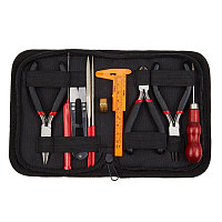 DIY Jewelry Tool Sets, with Wire-Cutter Pliers, Round Nose Pliers, Side Cutting Pliers, Brass Rings, Crochet Hook Needles, Scissor, Bead Awls, Vernier Caliper, Files, Colorful, 15.5x11.5x3cm; 10pcs/set