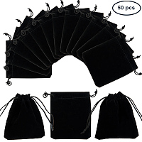 PandaHall Elite 50 Bags Black Velvet Jewelry Pouches Bags Drawstring Bags Gift Bags 12x10cm