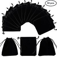 PandaHall Elite 50 Bags Black Velvet Jewelry Pouches Bags Drawstring Bags Gift Bags 12x10cm