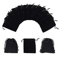 """NBEADS Pack of 50 Black Velvet Drawstring Pouches Wedding Favor Jewelry Gift Bags 3.9"""" X 4.7"""""""