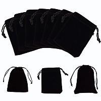 NBEADS 250pcs Rectangle Velvet Pouches, Gift Bags, Black, 9x7cm