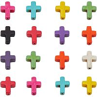 PH PandaHall 200pcs 10 Colors Cross Gemstone Pendants Charms Synthetic Turquoise Beads Cross Charms for Necklace Earring Bracelet Jewelry Making