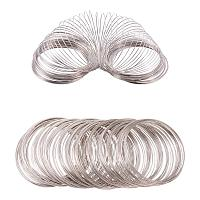 BENECREAT About 300 Loop 22 Gauge Jewelry Wire Silverton Memory Beading Wire for Wire Wrap DIY Jewelry Making - Inner Dia 55m, Thick 0.6mm
