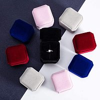 BENECREAT 10 Packs Mixed Velvet Ring Boxes 5 Color Velvet Jewelry Box for Proposal Engagement Wedding Ceremony and Gift Favor, 2 Packs Per Color