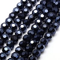 NBEADS 1 Strand Full Hematite Plated Faceted Round Electroplate Glass Strand Beads with 4mm,Hole: 1mm,about 100pcs/strand